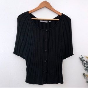 NY Collection Petite Large black button up top